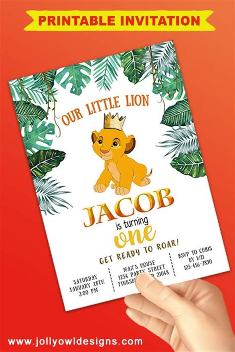 The Lion King Birthday Party Invitation in 2020 Lion