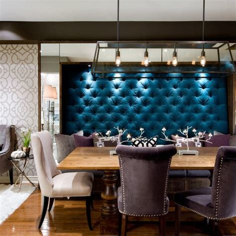 tufted velvet wall   banquette seating area