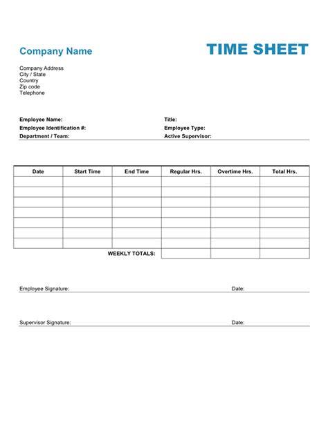 time sheet template for all employees word employee time sheet template in word and pdf formats