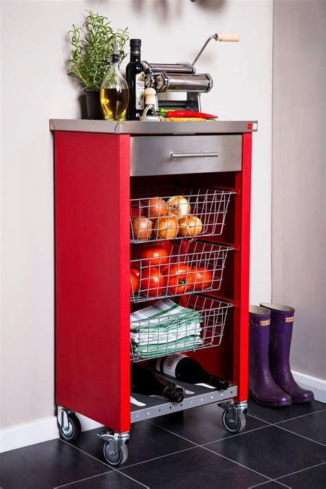 Hahn DHO Chelsea Kitchen Trolley in Stainless Steel & Red