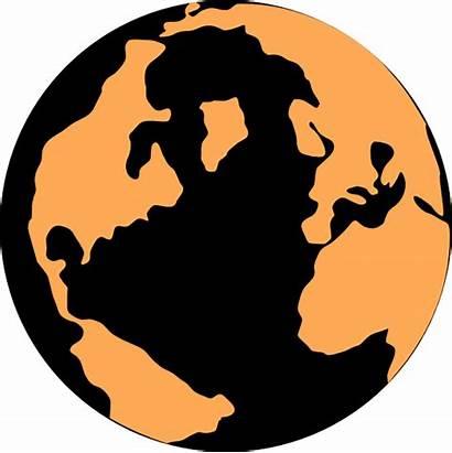 Globe Orange Clip Clipart Earth Vector Clker