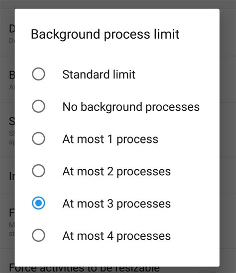 Android Background Process Limit Background Process Limit Developer Options Android 101