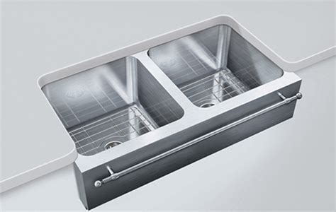 stainless steel apron sink with towel bar farmhouse sinks kitchen apron sink offset edge by just