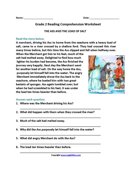 comprehension worksheets with questions and reading