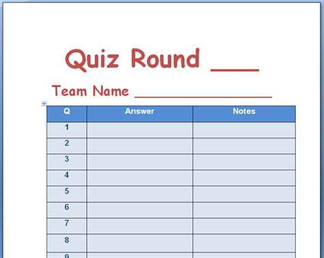 quiz sheet template quiz night answer sheets