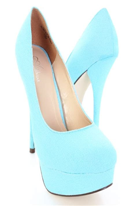 light blue shoes heels light blue canvas upper round close toe pump platform