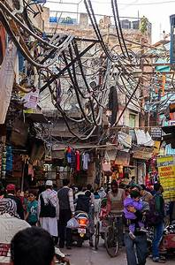 Electric Power Lines And Wiring In Street  India