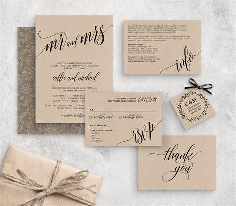 wedding invitation template instant  rustic