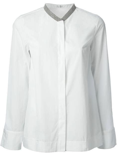 mandarin collar blouse brunello cucinelli beaded mandarin collar blouse in white