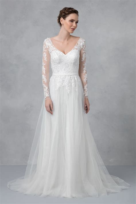 Long Sleeve A Line Wedding Dress