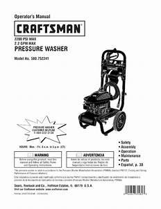 Craftsman 580752241 User Manual Pressure Washer Manuals
