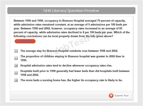 NHS Healthcare Assistant Numeracy & Literacy Test ...
