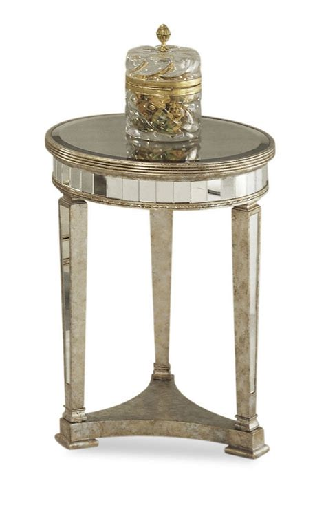 Borghese Mirrored Round End Table (Antique Mirror & Silver Leaf Finish)   [8311 220] : Decor South