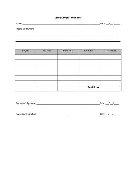 Construction Time Sheet Excel Template by Download Construction Timesheet Template Excel Pdf