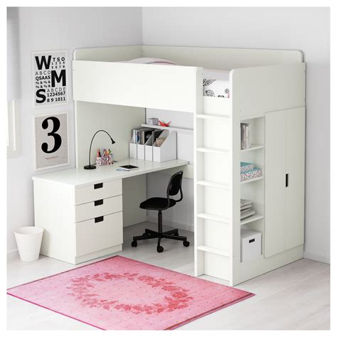ikea loft bed with desk stuva loft bed combo w 3 drawers 2 doors white 207x99x193