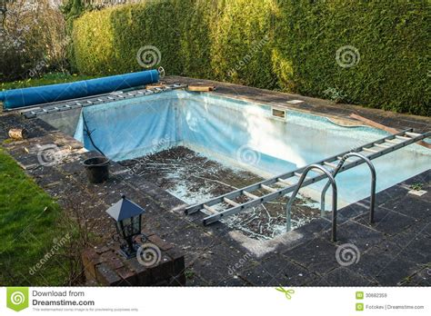 Old Swimming Pool Liner Stock Image. Image Of Skimmer