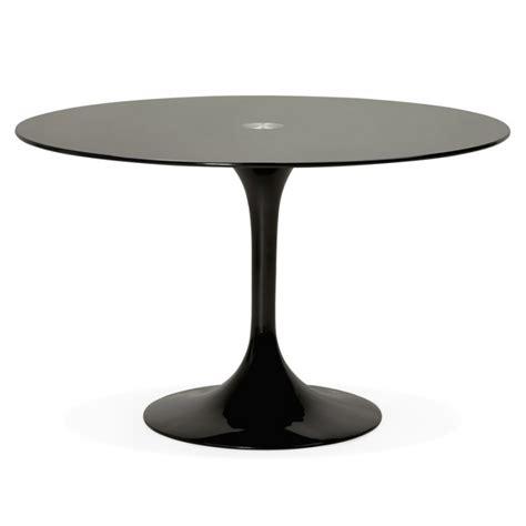 table ronde design marjorie en verre   cm noir