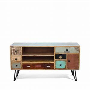 Meuble Tv Design Bois : meuble tv vintage en bois fusion by drawer ~ Melissatoandfro.com Idées de Décoration