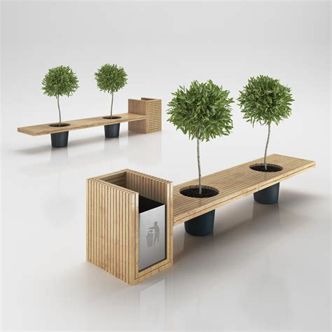 Designer Bench wooden eco design bench with integrated tr 3d model