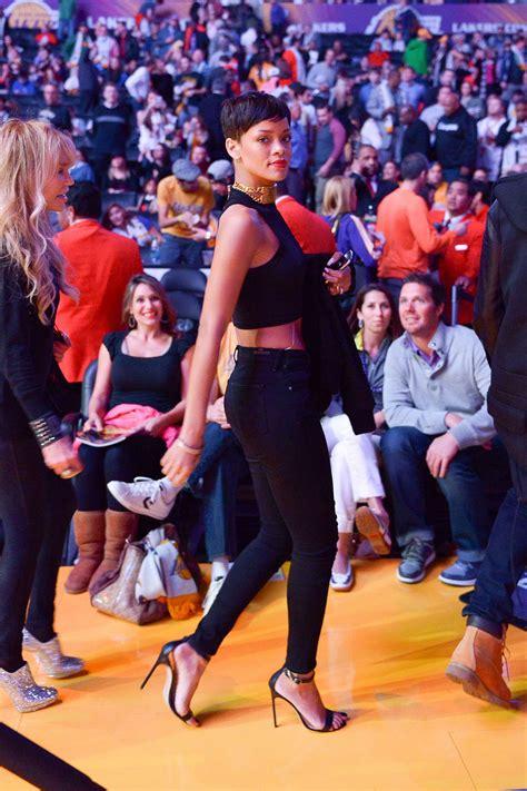 RIHANNA and Chris Brown at New York Knicks vs Los Angeles ...