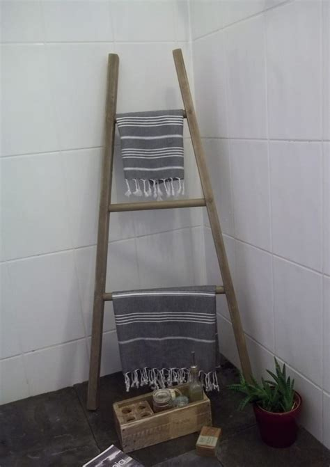 reclaimed wood orchard style tapered towel ladder
