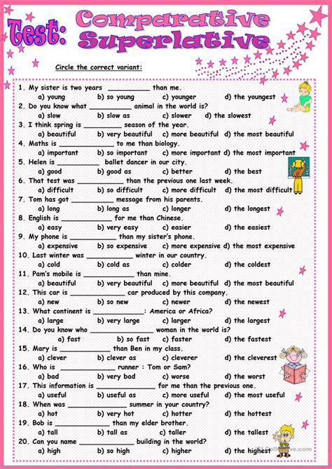 test comparative superlative worksheet free esl printable worksheets made by teachers