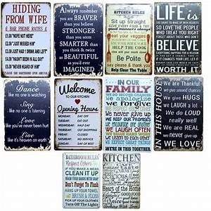 kitchen family rules retro tin signs metal painting wall With best brand of paint for kitchen cabinets with metal wall art signs