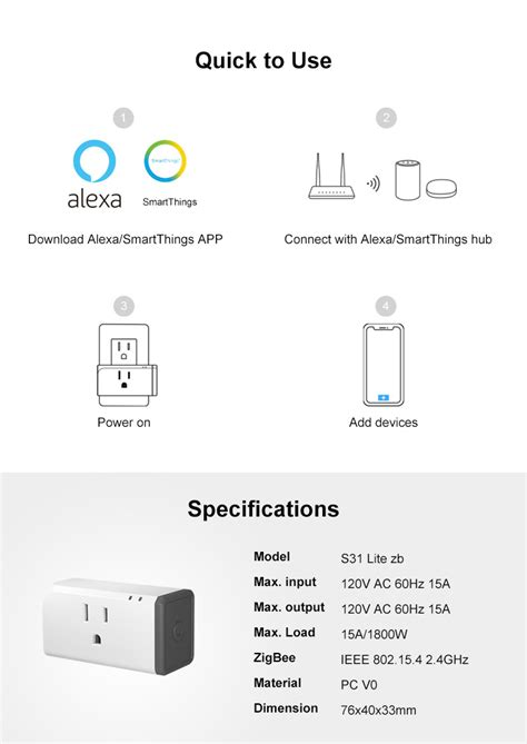 SONOFF S31 Lite ZB Smart Plug US Type Zigbee Version