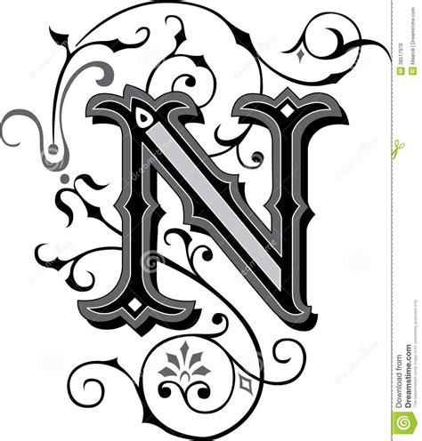 fancy letter n designs beautiful ornament letter n stock vector illustration