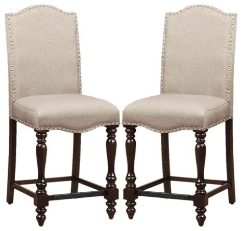 Upholstered Dining Chairs With Nailheads by Counter Height Dining Chairs Linen Like Upholstered