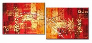 Tableau Peinture Sur Toile : tableau diptyque contemporain rouge or peinture sur toile ~ Teatrodelosmanantiales.com Idées de Décoration