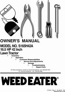 Weed Eater 177019 Owners Manual Om  S165h42a  2001 01