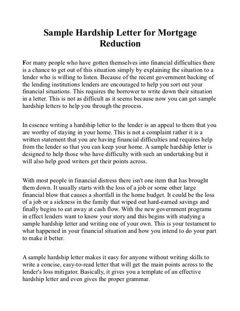 sample hardship letter  mortgage reduction