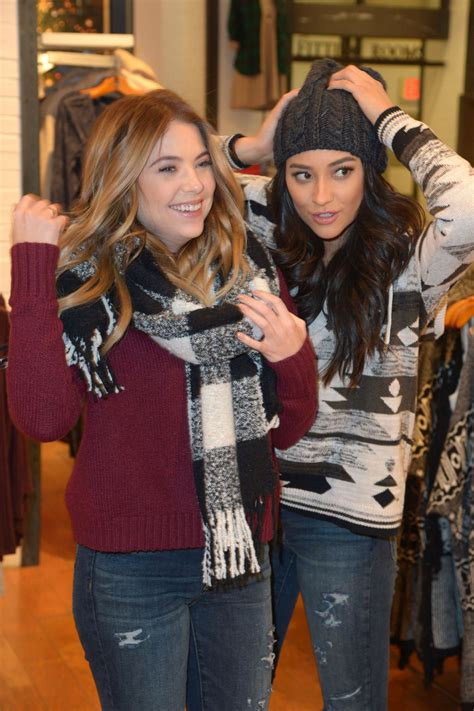 Shay Mitchell and Ashley Benson at American Eagle ...