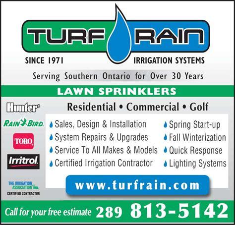 sprinkler system cost estimate turf rain irrigation mississauga on
