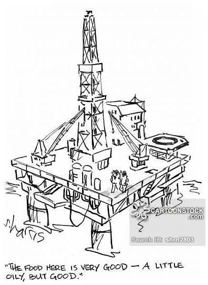 Oil Offshore Rig Drill Industry Platform Cartoons