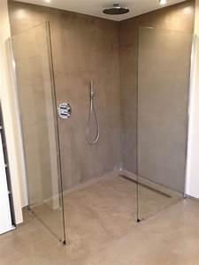 Revetement Douche Italienne : r alisation d 39 une douche italienne en b ton cir dans une ~ Edinachiropracticcenter.com Idées de Décoration