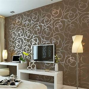 Luxury Flocking Textured Wallpaper Modern Wall paper Roll ...