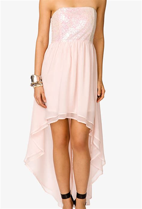light pink dress forever 21 forever 21 sequined high low dress in pink light pink lyst