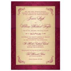 quinceanera invitations wedding invitation burgundy gold damask printed