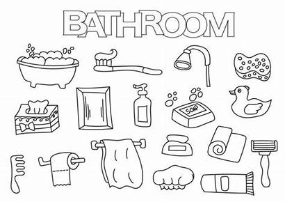 Bathroom Coloring Outline Hand Template Illustration Drawn