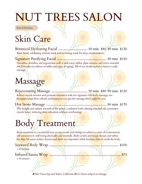spa menu template spa service menu template 2 best and professional templates