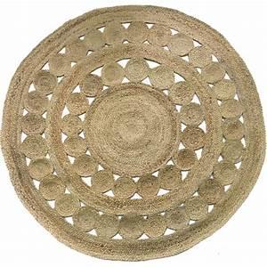Tapis Rond Tressé : tapis rond tress jute motifs cercles retro 150cm howne ~ Teatrodelosmanantiales.com Idées de Décoration