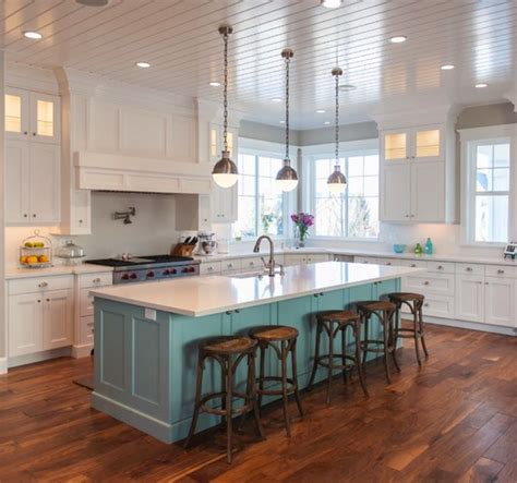 turquoise kitchen island white kitchen with a contrasting island adds a pop of