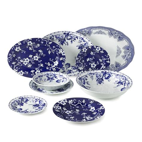 1640 blue and white dish sets blue bouquet dinnerware collection williams sonoma