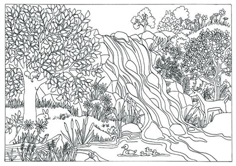 coloring pages for adults nature printable waterfall nature coloring page coloring