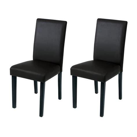 chaises noir lot de 2 chaises noires revêtement simili cuir achat