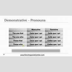 Demonstrative Pronouns In French Youtube