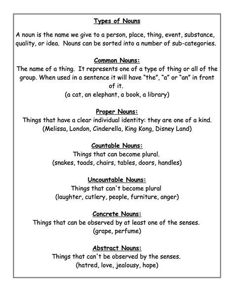 types of nouns worksheet kidz activities