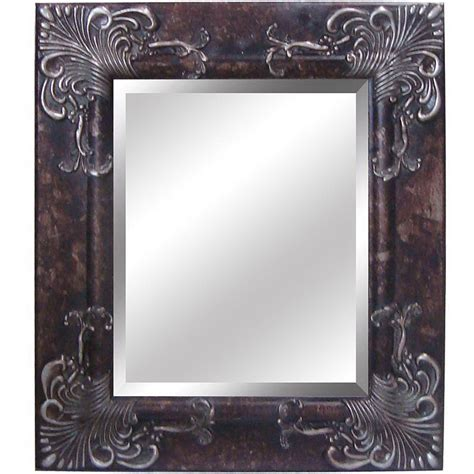 silver bathroom mirror lowes shop yosemite home decor 28 1 2 in h x 24 5 in w antique